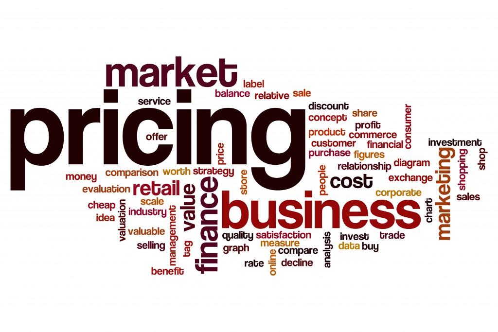 Pricing word cloud